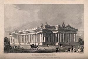 view Figures outside the Royal Institution. Line engraving by G. Aikman, 1841, after G.M. Kemp.