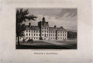 view Watson's Hospital, Edinburgh, Scotland. Line engraving by J. & H.S. Storer, 1819.