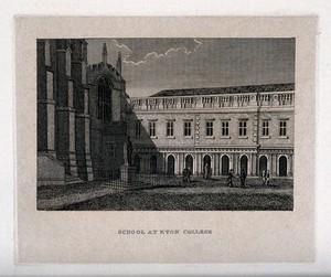 view The school courtyard, Eton College, Berkshire. Line engraving.