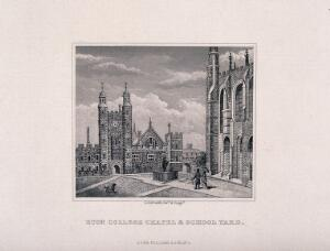 view Eton College, Berkshire: a couple with their dog walking through the school courtyard by the chapel. Etching by G. Gabrielli, 1875.