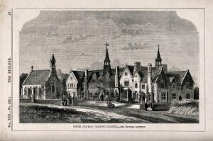 view The Exeter Diocesan Training College. Wood engraving by W.E. Hodgkin after R. Barrow after J. Hayward.
