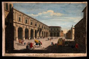 view Ospedale di Santa Maria Nuova, Florence, Italy: the hospital and piazza. Coloured line engraving by N. Parr, 17--, after G. Zocchi.