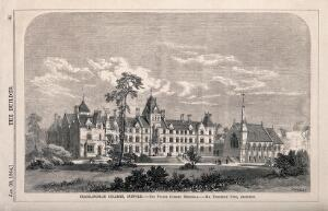 view Framlington College, Suffolk. Wood engraving by Walmsley, 1864, after F. Peck.