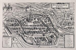 view City map of Freiburg, Germany: with key. Reproduction of a line engraving after K. Merian.