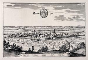 view Göttingen, Germany: panorama and key. Reproduction of a line engraving by K. Merian.
