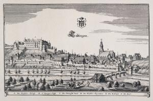 view Tübingen, Germany: panorama with key and crest. Reproduction of a line engraving by K. Merian.