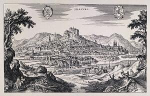 view Marburg, Germany: panorama with crest. Reproduction of a line engraving by K. Merian.