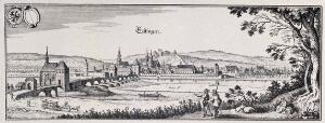 view Esslingen, Germany: with crest. Reproduction of a line engraving by K. Merian.