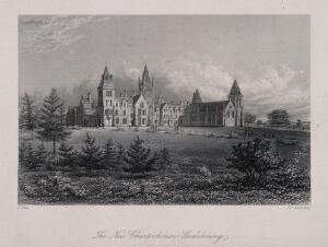 view Charterhouse Schools, Godalming, Surrey. Etching by J.C. Armytage, after, J. Carr.