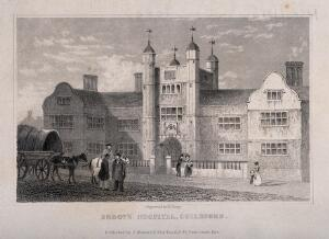 view Abbots Hospital, Guildford, Surrey. Line engraving by H. Lacey.