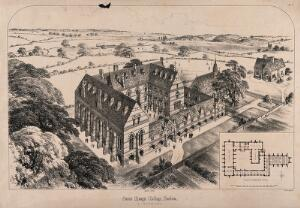 view St. Mary's College, Harlow, Essex: bird's-eye view and scale plan. Transfer lithograph by J.R. Jobbins, 1862, after R.J. Withers.