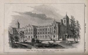view The Smallpox Hospital, Highgate, Middlesex: design drawing. Wood engraving by Laing, 1849, after S.A. Matthews.
