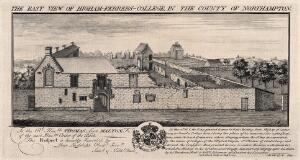 view Higham-Ferrers College, Northampton, England. Etching by S. & N. Buck, 1729.