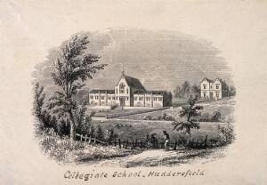 view Collegiate School, Huddersfield, Yorkshire. Wood engraving by Mason.
