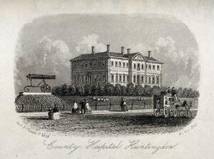 view County Hospital, Huntingdon. Line engraving, 1860.
