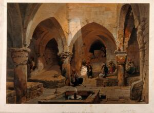 view Jerusalem: a coffee-house. Coloured lithograph by C.F.H. Werner, 1868.