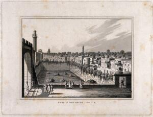 view The pool of Bethesda. Aquatint.