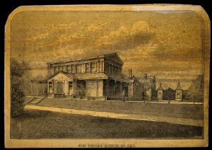 view Royal Botanic Gardens, Kew, Surrey: Miss North's museum. Wood engraving by Hill.