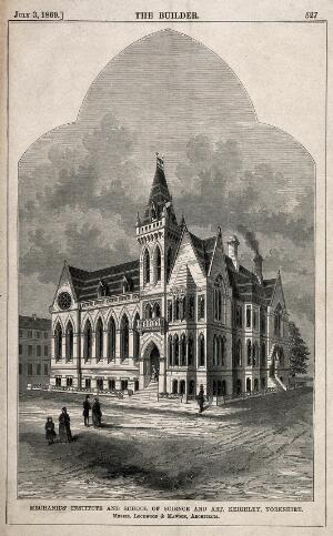 view The Mechanics' Institute and School of Science and Art, Keighley, Yorkshire. Wood engraving by W.E. Hodgkin after Lockwood and Mawson.