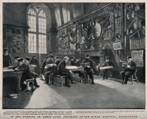 view The Royal Hospital, Kilmainham, Ireland: recreation room. Reproduction of a photograph by C.H.S. after G.M. Roche.