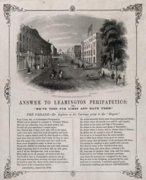 view Leamington Spa, Warwickshire: the Parades and Regent Hotel. Steel engraving by J.J. Hinchcliff, 1844, after J. Brandard.