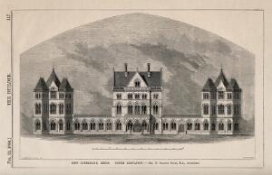 view New Infirmary, Leeds, Yorkshire: panoramic view. Wood engraving by I.S. Heaviside, 1864, after J. D. Wyatt after G.G. Scott.