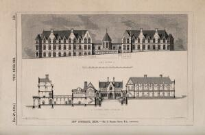 view New Infirmary, Leeds, Yorkshire: with architectural designs. Wood engraving by I.S. Heaviside, 1864, after J. Drayton Wyatt after G.G. Scott.