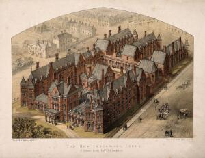 view New Infirmary, Leeds, Yorkshire: bird's-eye view. Coloured lithograph after G.G. Scott [1864].
