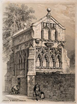 view St. Mary's Conduit, Lincoln, England. Tinted lithograph by F. Bedford.