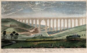 view Aqueduct, Lisbon, Portugal: panoramic view over the Valley of Alcantra. Coloured line engraving by T. Bowles after R. Black.