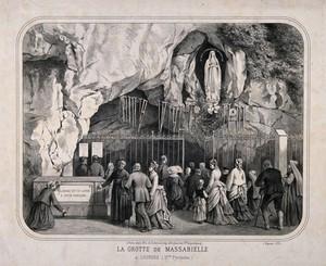 view Lourdes, Haute Pyrénées: pilgrims gathered at the cave of Massabielle. Lithograph.