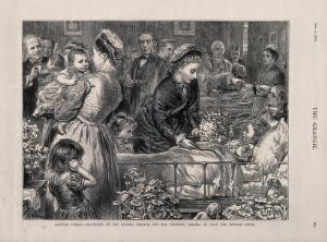 view H.R.H. The Princess Louise, with many patients, nurses and doctors in a ward of the Victoria Hospital for Sick Children, Chelsea. Wood engraving by T. W. Lascelles, 1876.