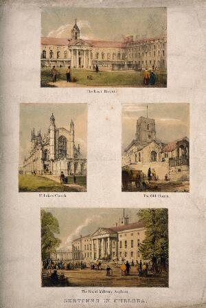 view Four buildings in Chelsea: the Royal Hospital, St Luke's Church, the Old Church, and the Royal Military Asylum. Coloured lithographs.