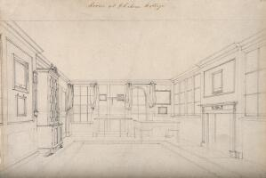 view The interior of a room, looking towards the windows, a fireplace to the right. Pencil drawing.