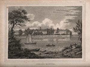 view The Royal Hospital, Chelsea: viewed from the Surrey bank with boats on the river. Engraving by J. Storer after S. Prout, 1805.