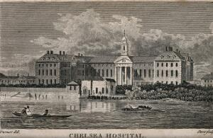 view The Royal Hospital, Chelsea: viewed from the Surrey bank with boats on the river. Etching by J.S. Storer, 1795, after J.M.W. Turner, 1794.