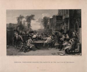 view Chelsea Pensioners hearing the news of the battle of Waterloo, outside the Duke of York public house. Engraving by W. Greatbach after D. Wilkie, [between 1822 and 1894]