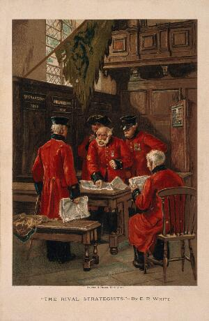 view A group of Chelsea Pensioners disputing in the Hall at the Royal Hospital. Colour lithograph after E.R. White.