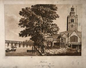 view The Old Church, Chelsea, looking along the bank with luxuriant trees in the centre, boats on the river. Aquatint.