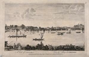 view Chelsea: viewed from the Surrey bank with boats on the river. Engraving, 1755, after J. Maurer.