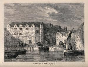 view Bridewell Hospital, as in 1666, seen from the river with ships in the foreground. Wood engraving.