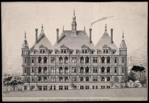 view The North London Hospital for Consumption and Diseases of the Chest: elevation view of the garden facade with balconies indicated, people walking among trees at ground level. Process print by Sprague & Co., ca.1879, after A. Howard.
