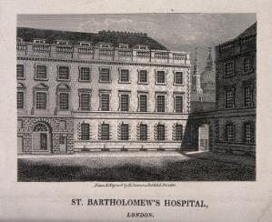 view St Bartholomew's Hospital, London: a corner of the Gibbs courtyard with the dome of St Paul's Cathedral seen behind. Engraving by H. Simmons after himself, 1812.