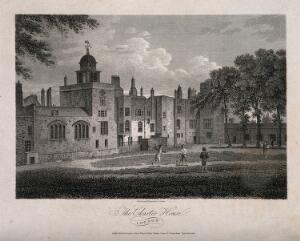 view Charterhouse Hospital, London: boys playing cricket. Engraving by J. Storer after himself, 1804.