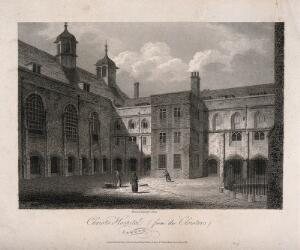 view Christ's Hospital, London: the exterior of the Hall. Engraving by J. Storer after himself, 1804.