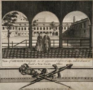 view Gresham College, London: the court seen from the cloister. Engraving by J. Newton, 1800.