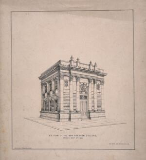 view Gresham College, London: three-quarter view, with Gresham's arms over the entrance. Lithograph, 1844.