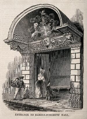 view Barber-surgeons' Hall, Monkwell Street, London: the entrance to the hall, showing the elaborate carving of the canopy, a lady and child entering. Wood engraving by C. D. Laing, 1845.