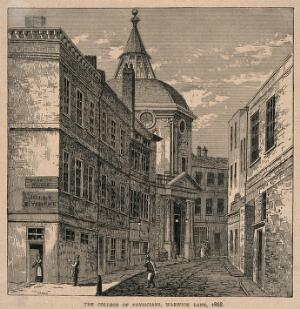 view Royal College of Physicians, Warwick Lane, London. Process print by Taylor [?] after C. T. James, 1868.
