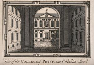 view Royal College of Physicians, Warwick Lane, London: the courtyard, viewed through the columns of the entrance loggia. Engraving.
